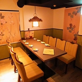 14~20名様まで可能なテーブル席個室を完備。プライベート感満載の個室は、周りの目を気にせずお過ごしいただけます。和の風情たっぷりの空間で寛ぎながら、お食事と会話をお楽しみください。女子会、会社宴会、合コン、気の合う仲間とのお集まりなど、大人数でのご利用に◎スタッフが心を込めておもてなしいたします。