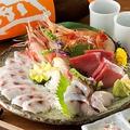 料理メニュー写真のどぐろ刺身・薄造り鮮魚五点盛合わせ