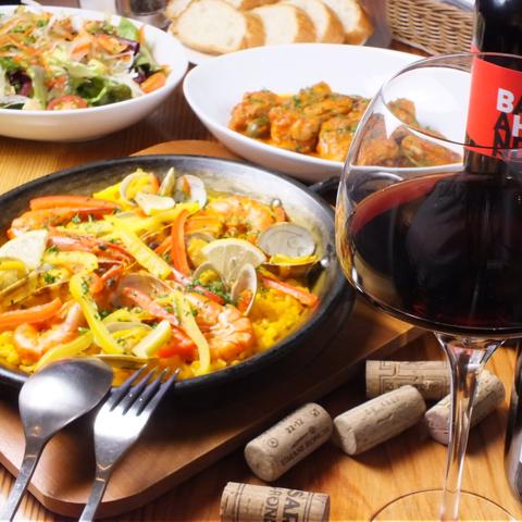 アットホームなくつろぎの空間でスペイン料理とワインを♪
