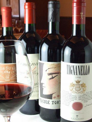 200種類以上のワインをとりあつかっている為、ワインが初めての方にもワイン通な方にも十分にお楽しみ頂けます。※ワイン詳細は直接スタッフまでお尋ねくださいませ