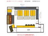 貸切の基本的な座席表です。着席は30名ほどで半立食でも使いやすい座席の配置になっています!半立食であれば50名以上も可☆