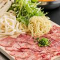 料理メニュー写真季節野菜と牛タンのヘルシーしゃぶしゃぶ