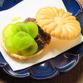 【コースの一品】自家製あんこと季節のフルーツ最中~バニラアイス添え~