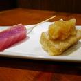 マグロ串…レアに仕上げておろしポン酢で!