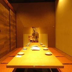 適度に距離感をとった配置が可能な掘りごたつ個室ですので、安心してお食事をお楽しみいただけます。