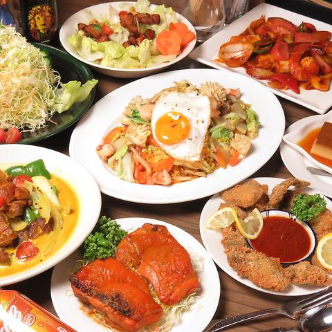 ◆◇スリランカ料理をご堪能◇◆シーフードたっぷりのコース♪全8品&2H飲み放題付き 4000円