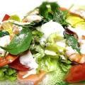 料理メニュー写真プリプリ!海老とサーモンシーザーサラダ/和風!鴨ロースサラダ/生ハムとチーズサラダ