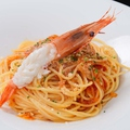料理メニュー写真海老と茄子のトマトソースパスタ