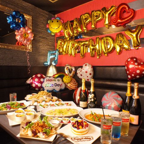 【誕生日・記念日・ウエディングコース】デコ部屋・バルーン装飾付き2600円!!