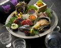 料理メニュー写真お造り盛り合わせ~5種/7種本マグロ、鯛、かんぱち、サーモン、帆立、鰆、赤貝、〆鯖etc…単品でも注文OK