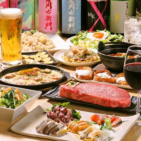 お肉や旬の魚介の鉄板焼き!お好み焼きを堪能!《全10品》宴会・パーティコース3,000円(税込)