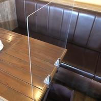 【感染症対策】テーブル毎のアクリル板を設置