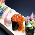 自慢の天然地魚にぎり寿司盛り合わせ!日替わりで8~15種のネタを御用意!