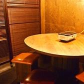 中規模の宴会は丸テーブルがおすすめ。角がないのでお話しもしやすい!おしゃれなテーブルでデキる幹事も演出します。