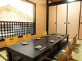 半個室風の座敷席は人気。