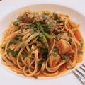 料理メニュー写真鰆と菜の花のトマトソースバベッティ