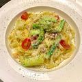 料理メニュー写真アスパラとベーコンののクリームチーズパスタ ~タリアッテレ~