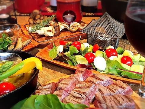 こだわりのお肉とお野菜の自然派グリル料理を堪能できるお店☆