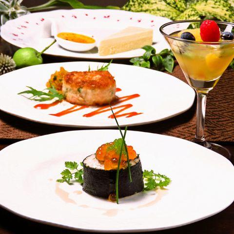 【メイン:魚料理】シェフおまかせランチ4皿コース2500円(税別)