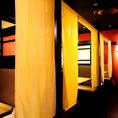 少数名様でも個室あります!こちらはプライベート使いにもってこいな2名様~4名様までの暖簾個室となります