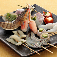 魚をはじめ海老や貝などの海鮮素材の創作串かつも豊富♪