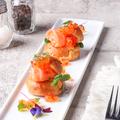 料理メニュー写真こぼれイクラと季節のおすすめ鮮魚のグジェール