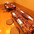 仕切りをはずし、座敷テーブル席を繋げると最大12名様までご案内できます。各種宴会に最適です。人数のご希望などはリクエスト予約またはお電話にてお問合せ下さい。