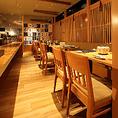 【テーブル席】2名から4名様までご利用いただけるお席もご用意!2時間飲み放題付きコースは4,500円(税抜)からございます!