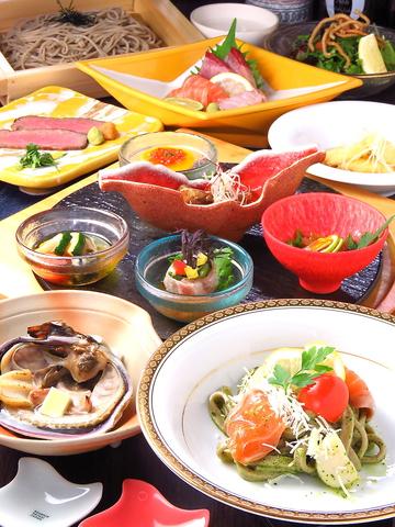 【記念日・デートに☆】A5和牛ローストビーフステーキ、十割蕎麦等、和洋折衷コース全9品6600円