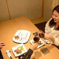 落ち着きのある個室でプライベートな空間を。しっとりデートなど・・・。宴会や接待にも最適です。