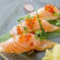 料理メニュー写真炙りサーモン親子寿司