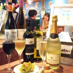 ワイン、スパークリングワインの種類が豊富