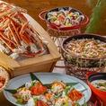 エビやムール貝に加え、「かに食べ放題」、「シーフードパエリア」、「シーフードイエロー グリーンカレー」など、世界中のシーフードをご用意しています!