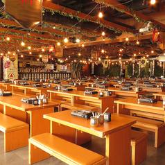 広く開放的な店内、ゆっくりとくつろげる空間をご用意しております。空調の効いた店内でテラスに居るようなくつろぎを♪広々としたベンチシートなので、周りに気にすることなくお楽しみ頂けます♪緑をイメージした店内はリラックスしながらも、非日常の雰囲気を味わうことが出来ると好評です。
