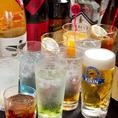 【ドリンクメニュー】充実の50種類以上★宴会コースの飲み放題は120分間。基本飲み放題は、お1人様1,200円(税込)。ビール(瓶・生)・焼酎(限定品目)・日本酒・カクテル(限定品目)・サワー・ソフトドリンクなど☆多くの種類から選べるので、お酒が好きな方も、少し苦手…という方でもお楽しみ頂ける内容となっております♪