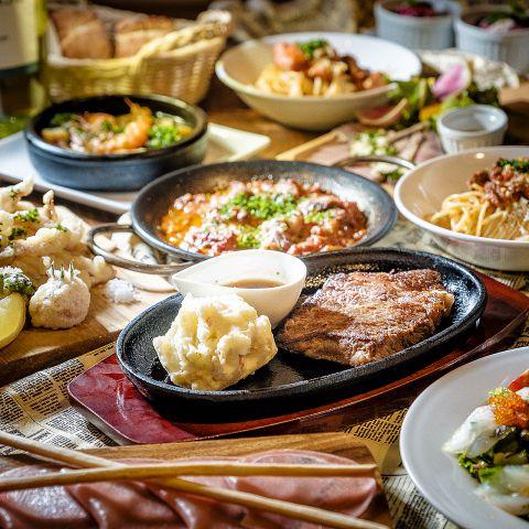 牛タンステーキにあかね土鶏モモアヒージョなど全9品◆◇ビストロ肉たらしコース◇◆