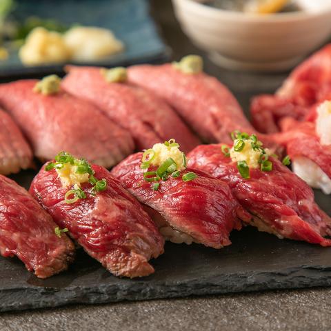 『肉寿司堪能コース』3時間飲み放題付き全8品3,300円【当店人気の肉寿司やチキンステーキなど】