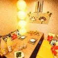 女性に大人気♪ゆとりのある4名様個室。くつろぎながらゆっくりお食事をお楽しみください!