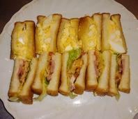 鴨肉の特別サンドとボリューミーな卵サンドウィッチ