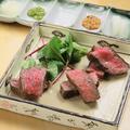 料理メニュー写真備長炭の炭火焼き和牛肉