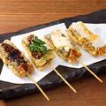 料理メニュー写真サバの串カツ4種盛り合わせ
