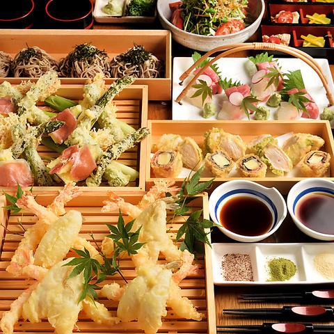 【期間限定×歓迎会×2H飲み放題付き】極上チゲ鍋自慢の天ぷら全7品宴会コース4400円税込み