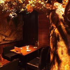 店内に入って右手のテーブル席!すぐ目に入る壮大な巨木と石の壁がまるで森の洞窟を思わせるお席となっております♪大きな木を見上げて、都会の喧騒を忘れてゆったりとお寛ぎくださいませ…♪飲み放題付コースメニュー4,000円(税込)~ご用意しております!