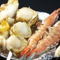 料理メニュー写真海鮮串焼3種盛り(海老串・ホタテ串・ツブ貝串の3種盛り)