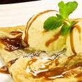 バニラアイスのガレット 塩バターキャラメル(800円) 食後・飲み会の帰りのデザートに最適。