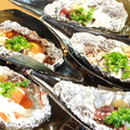 料理メニュー写真クジラのしょうがにんにく貝焼/サーモン味噌バター焼