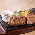 料理メニュー写真あらびきBEEFハンバーグ (180g)&カットステーキ (100g) 単品