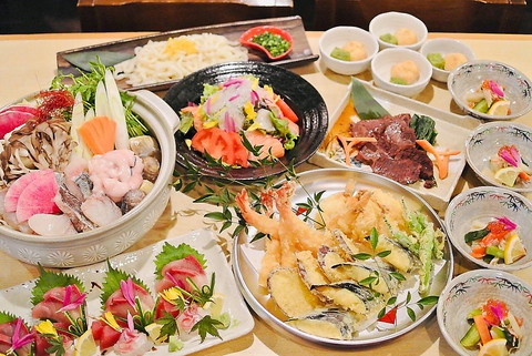 【歓迎会×飲み放題×海鮮鍋】★自慢の天ぷらが付いた全8品宴会コース5500円税込