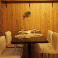 ●・~オシャレなテーブル席~・●人気の肉バル。デザイナーズ個室空間は少人数でゆっくりお食事したい方におすすめです!