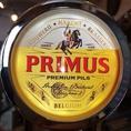 プリムス プレミアムピルス樽生 常設のラガー系樽生ビールです。飲み放題のプランにもこのプレミアムなビールがついていますよ!ベルギー三大ラガーのひとつです。